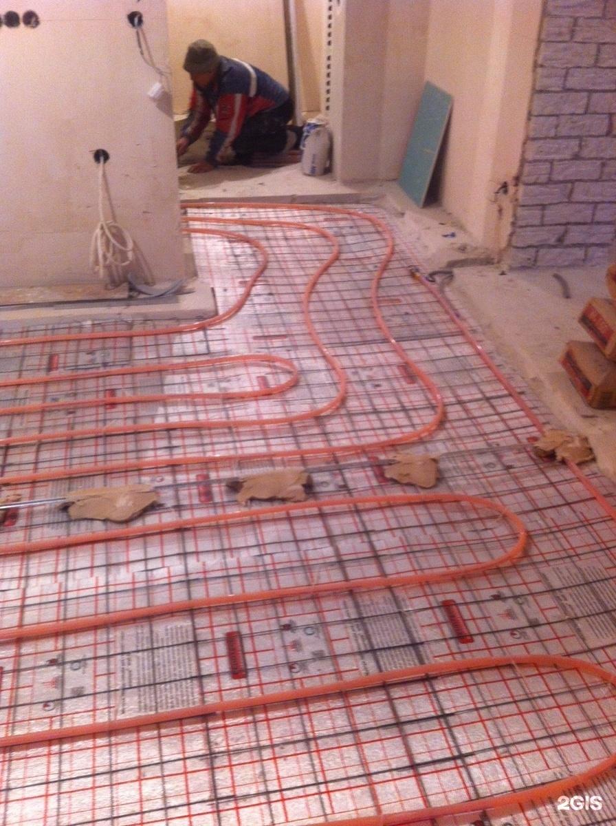Теплый пол на кухне под плитку водяной своими руками 80