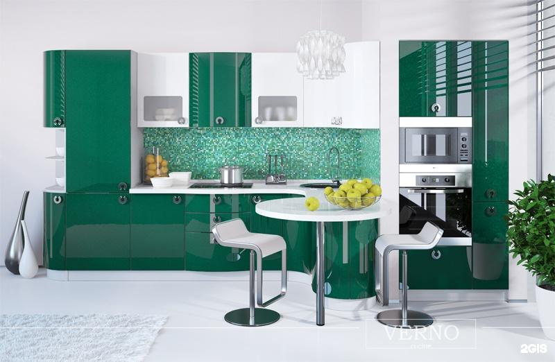 Темно зеленая кухня в интерьере фото
